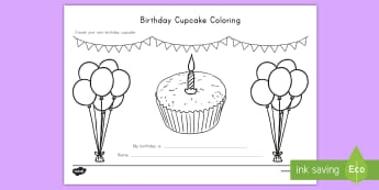 Birthday Cupcake Coloring Activity Sheet - USA Back to School, USA Beginning of School, Back to School Activity Sheet, Beginning of School Acti