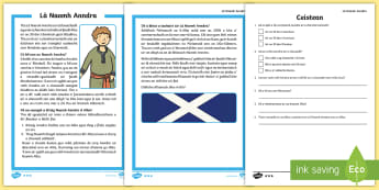 Naomh Anndra - Tuigse Leughaidh - Reading Comprehension, St.Andrews Day, First Level, Cfe, Gaelic,,Scottish