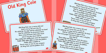 Old King Cole Story Sequencing Cards - story cards, old king cole
