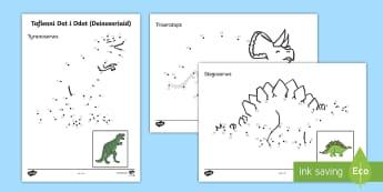 Taflenni Dot i Ddot Deinosoriaid - deinosoriaid, dot i ddot, rhifedd, mathemateg, Welsh