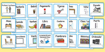 EAL Everyday Objects at School Editable Cards Spanish - spanish, eal, everyday, objects