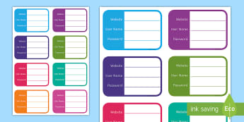 Password Login Details Activity Sheet  - Digital Competence Framework, Planning, Year 3, Year 4, Year 5, Year 6, Wales, ICT, ICT in Key Stage