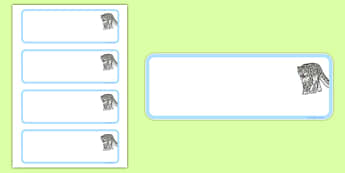 Snow Leopard Themed Editable Draw Peg Name Labels - snow leopard, editable, drawer, peg, name, label, display