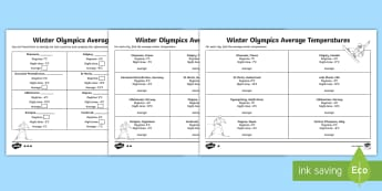 KS2 Winter Olympics Host Cities Average Temperatures Differentiated Activity Sheet - Y3, Y4, Y5, Y6, worksheet, events, winter sports