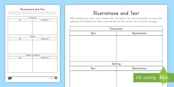 Illustrations and Text Worksheet / Activity Sheet - Reading, Literature, pictures, words, story structure, reading response, worksheet