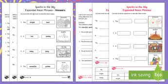 Sparks in the Sky Expanded Noun Phrases Differentiated Activity Sheets - fireworks, bonfire night, KS1, Year 2, English, Grammar, adjectives, describing, descriptions, nouns