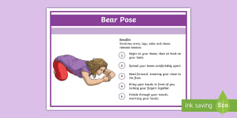 Yoga Bear Pose Step-by-Step Instructions - Yoga, health, stress, calm, peace, KS1, KS2, well being, anxiety, work life balance, WLB
