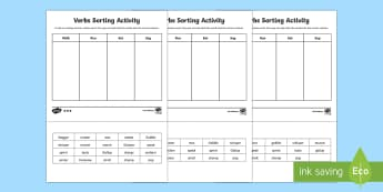 Sorting Verbs Differentiated Activity Sheets - CfE Literacy, writing, tools for writing, vocabulary, sorting, cut and stick, verbs, Scottish
