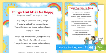 Things That Make Me Happy Song - EYFS, Early Years, Ourselves, All About Me, emotions, feelings, PSED, circle time, songs, singing, s