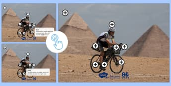 KS1 Around the World in 80 Days Picture Hotspot - The World Challenge, Mark Beaumont, bicycle, challenge, race, goal, set, bike, cycle, cycling, world
