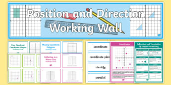 UKS2 Position and Direction Working Wall Display Pack - maths display, classroom display, co-ordinates, reflection, rotation, translation, translate shapes,