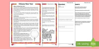 Chinese New Year Differentiated Reading Comprehension Activity - chinese new year, sheet