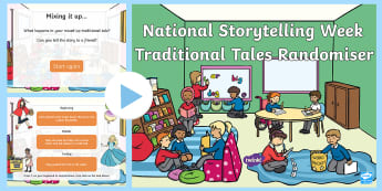 EYFS National Storytelling Week Traditional Tales Randomiser PowerPoint - Once Upon a Time, Happily Ever After, Beginning, Middle, Ending,