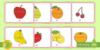 Posters de exposición: Nombres de las frutas - manzana, plátano, cerezas, moras, frambuesas, naranja, mandarina, piña, melón, sandía, melocotó