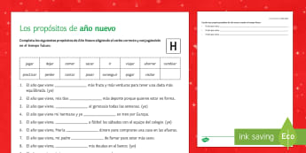 New Year's Resolutions Higher Activity Sheet Spanish