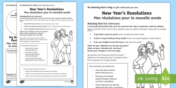 New Years Resolutions Activity Sheet English/French - Amazing Fact Of The Day, activity sheets, powerpoint, starter, morning activity, December, new year,