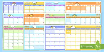 2017 Calendrier mensuel - Nouvel An, nouvelle année, bonne, résolution, resolution, New Year, agenda, planifier