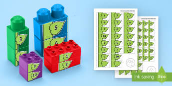 Number Beanstalk to 10 Connecting Bricks Game - EYFS, Early Years, KS1, Connecting Bricks Resources, duplo, lego, plastic bricks, building bricks, l
