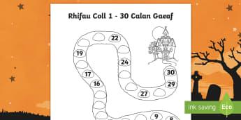 Taflen Weithgaredd Rhifau Coll i 30 Tŷ Bwganllyd - Halloween, mathematics, number, calan, gaeaf, rhifau, coll, 1 - 30,Welsh