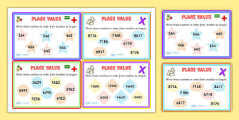 Place Value Number Sorting Maths Challenge Cards - place value