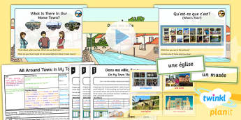 French: All Around Town: In My Town Year 4 Lesson Pack 2