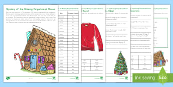 The Mystery of the Missing Gingerbread House Math Game - Christmas, Gingerbread, Multiplication, Division, Shapes, Rounding, murder mystery