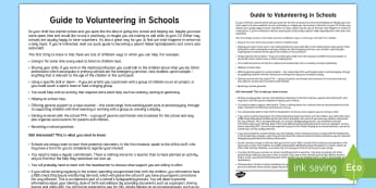 Guide to Volunteering in Schools Parent and Carer Information Sheet - parents, advice, schools, helping, volunteering, helper, classroom.