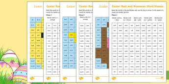 Easter Phonics Phase 3 Mosaic Worksheet / Activity Sheet - EYFS, Reception, KS1, Year 1, Year 2, Phonics, English, Reading, Phase 3, Letters and Sounds, Real W