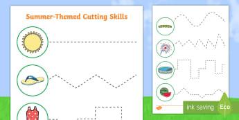 Summer Cutting Skills Worksheet / Activity Sheet - summer, cutting skills, cutting, cut, skills, worksheet / activity sheet, activity