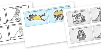 Jack and Jill Sequencing (4 per A4) - Jack and Jill, sequencing, nursery rhyme, rhyme, rhyming, nursery rhyme story, nursery rhymes, Jack and Jill resources