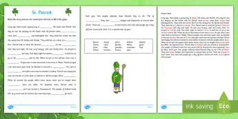 Saint Patrick Cloze Activity with Word Bank First and Second Class - gaeilge, Saint Patrick, comprehension, reading, questions, religion, Ireland
