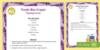 Purple Wax Crayon Playdough Recipe - Toys, cooked playdough, play dough, play doh, coloured playdough, playdough recipe