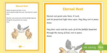 Eternal Rest A4 Display Poster - CfE Catholic Christianity, prayers, mass responses, Eternal Rest,Scottish