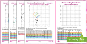 KS2 Valentines Day Coordinates Activity Sheets English/German - EAL, German, Heart, Rose, Cupid, Bow, February, 14th, Y3, Y4, worksheets,German-translation
