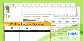 Twinkl Move - Year 1 Attacking and Defending - Assessment Pack - pe, lessons, planning, plans, ks1, y1, year 1, assess, spreadsheet, kwl grid