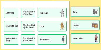 Wizard of Oz Word Cards - Wizard of Oz, Oz, Dorothy, yellow brick road, wicket witch, word card, flashcards, cards, Emerald City, Toto, the good witch, munchkin, tin man