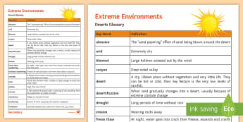 Deserts Glossary Word Mat - extreme, freeze, thaw, weathering, dune, arid, dry, drought