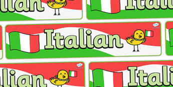 Italian Display Banner - MFL, Italian, Modern Foreign Languages, foundation, languages, display, italiano, banner, display