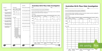 Australian Birth Place Data Investigation Activity Sheet - Australian Curriculum Statistics and Probability, ACMSP097, year 4 maths, data, data investigation,