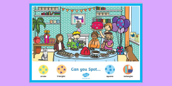 Shape-Themed Can You Find? Poster - maths, properties, identify, ks1, 2D, investigate, investigation, corners, sides,