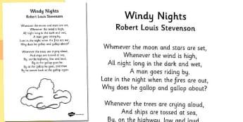 R L Stevenson Windy Nights Poem - stevenson, windy nights, poem