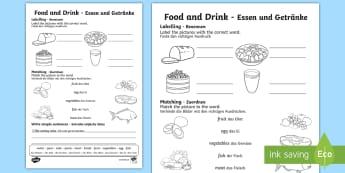 Food and Drink Activity Sheet English/German - Eating, drinking, international, worksheet, EAL, German