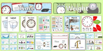 KS1 Measurement Working Wall Display Pack - working, wall, display, pack, Poster, Banner, Challenge Cards, key stage one, year 1, year 2, y1, y2
