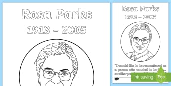 Rosa Parks Colouring Page - black history, civil rights movement, racism, 1950's, america, history ,Irish