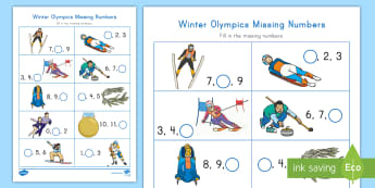 Winter Olympics Missing Numbers Activity Sheet - Number Skills, Counting, Number Identification, worksheet