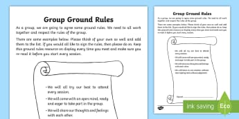 Group Ground Rules Activity Sheet - Young People & Families Case File Recording, referral, chronology, contents page,buddy system, safeg