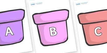A-Z Alphabet on Plant Pots - A-Z, A4, display, Alphabet frieze, Display letters, Letter posters, A-Z letters, Alphabet flashcards