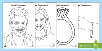 Royal Engagement Colouring Pages - Royalty, Prince Harry, Meghan, Engaged, Marry