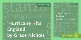 'Hurricane Hits England' by Grace Nichols Notes for Study - GCSE English Literature, Time and Place Cluster, Edexcel Poetry, Poetry Exploration, Exam Practice,