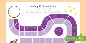 Adding 10 Space Race Activity Sheet - game, addition, math, space, race, worksheet, number, math center, math station,